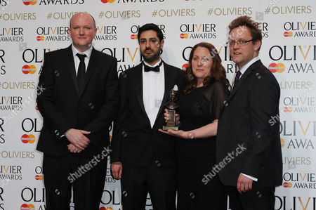 Laurence Olivier Theatre Awards 2015 Press Room at the Royal Opera House Ben Monks and Sam Troughton - Bull at Maria at the Young Vic - Winner of Outstanding Achievement in an Affiliate Theatre