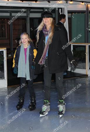Opening of the Tiffany Ice Skating Rink at Somerset House the Strand London Deborah Leng and Daughter Lola Daisy May Leng Taylor