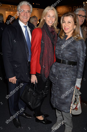 Pad Art and Design Fair in Pavilion in Berkeley Square Mayfair London Sir Ronald Cohen and His Wife Sharon with Princess Firyal of Jordan