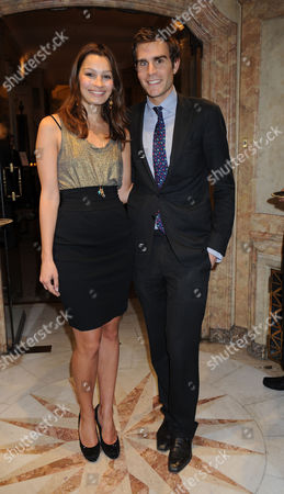 A Cocktail Party at Partridge Fine Arts Bond Street For Prince Dimitri of Yugoslavia's Collection of Fine Jewellery Oscar Humphries & His Girlfriend Sara Philippidis
