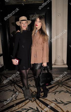 Stock Picture of Ppq Lfw Dinner at Brasserie Chavot Conduit Street Mayfair London Laura Pradelska and Francesca Hodge