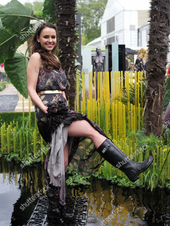 18 05 2015 Press Day at the Rhs Chelsea Flower Show at the Royal Hospital Chelsea West London Miss Sweden Camilla Hansson at the World Vision Garden
