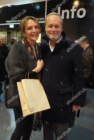 Private View at Art13 Olympia Grand Hall London Saffron Aldridge with Her Husband Ian Wace