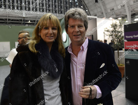 Stock Picture of Private View at Art13 Olympia Grand Hall London Guy Sangster with His Wife Fiona Sangster
