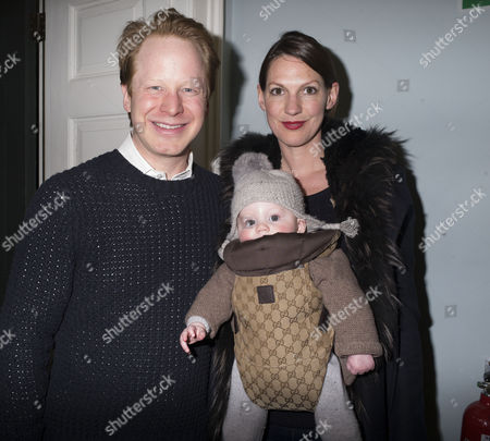 Maggi Hambling Exhibition Private View of ' War Requiem and Aftermath' at the East Wing Somerset House the Strand London Ben Gummer Mp and His Wife Sarah and Their Baby Son