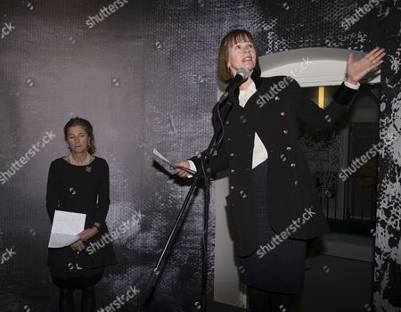 Stock Photo of Maggi Hambling Exhibition Private View of ' War Requiem and Aftermath' at the East Wing Somerset House the Strand London Deborah Bull Director Cultural Partnerships at King's College London & Princess Antonia Duchess of Wellington