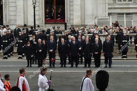 Remembrance Sunday at the Cenotaph Whitehall Baroness Frances D'souza John Bercow; Baroness Tina Stowell; Philip Hammond; Tim Farron; George Osborne Angus Robertson; Jeremy Corbyn; Gordon Brown; Tony Blair; John Major; David Cameron