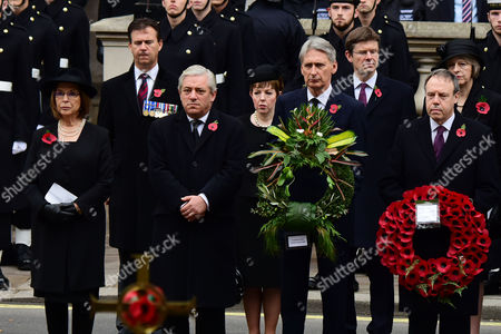 Stock Image of Remembrance Sunday at the Cenotaph Whitehall Baroness Frances D'souza John Bercow; Baroness Tina Stowell; Philip Hammond;