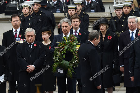 Stock Picture of Remembrance Sunday at the Cenotaph Whitehall John Bercow; Baroness Tina Stowell; Philip Hammond;