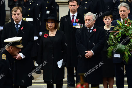 Remembrance Sunday at the Cenotaph Whitehall Baroness Frances D'souza; John Bercow; Baroness Tina Stowell; Philip Hammond;