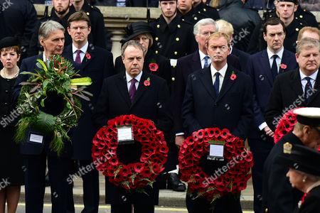 Remembrance Sunday at the Cenotaph Whitehall Baroness Tina Stowell; Philip Hammond; Theresa May; Tim Farron; George Osborne