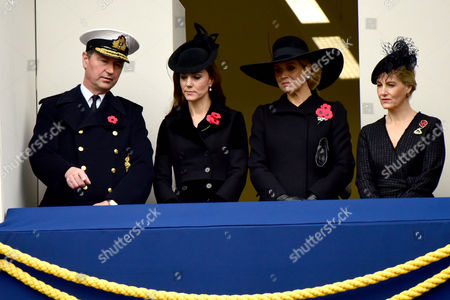 Remembrance Sunday at the Cenotaph Whitehall Vice Admiral Sir Timothy Laurence; Catherine Duchess of Cambridge; Queen Maxima of the Netherlands; Sophie Countess of Wesex
