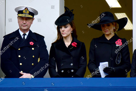 Remembrance Sunday at the Cenotaph Whitehall Vice Admiral Sir Timothy Laurence; Catherine Duchess of Cambridge; Queen Maxima of the Netherlands