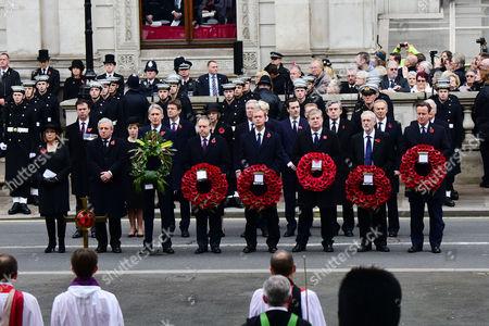 Stock Photo of Remembrance Sunday at the Cenotaph Whitehall Baroness Frances D'souza John Bercow; Baroness Tina Stowell; Philip Hammond; Tim Farron; George Osborne Angus Robertson; Jeremy Corbyn; Gordon Brown; Tony Blair; John Major; David Cameron