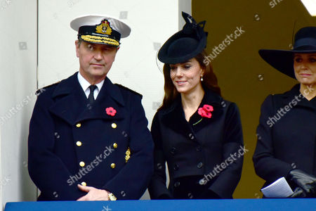 Remembrance Sunday at the Cenotaph Whitehall Vice Admiral Sir Timothy Laurence; Catherine Duchess of Cambridge