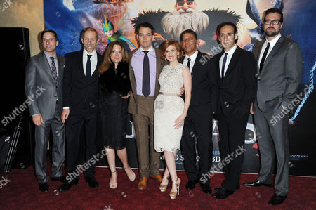 Stock Image of Rise of the Guardians Uk Premiere in Leicester Square Gardens and Empire Cinema Hamish Grieve Bill Damaschke Producer Christina Steinberg Chris Pine Isla Fisher Director Peter Ramsey Patrick Hanenberger