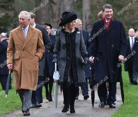 Members of the Royal Family Attend Christmas Day Service at the Church of St Mary Magdalene Sandringham Estate Charles Duke of Cornwall Camilla Duchess of Cornwall and Vice Admiral Sir Timothy Laurence