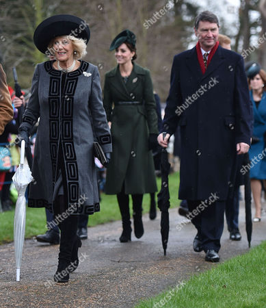 Members of the Royal Family Attend Christmas Day Service at the Church of St Mary Magdalene Sandringham Estate Camilla Duchess of Cornwall Catherine Duchess of Cambridge and Vice Admiral Sir Timothy Laurence