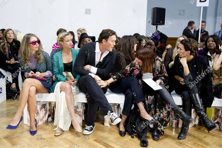 Sass&bide Ss2012 Front Row at the Royal Horticultural Halls During London Fashion Week 2012 Leah Wood with Her Husband Jack Mcdonald Miquita Oliver and Willa Keswick