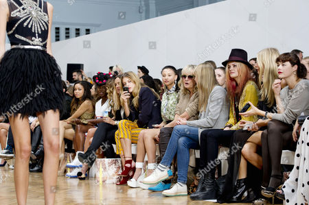 Stock Photo of Sass&bide Ss2012 Front Row at the Royal Horticultural Halls During London Fashion Week 2012 Leah Weller Twiggy with Her Daughter Carly Witney Alison Mosshart Poppy Delevingne and Jasmine Guinness