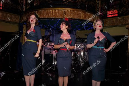 Terrence Higgins Trust Supper Club at Cafe De Paris the Puppini Sisters: Marcella Puppini Stephanie O'brien and Kate Mullins