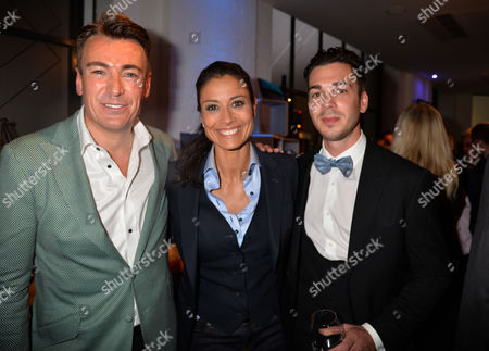 May 14 2013 the Aston Martin Tailoring Collection Vip Launch at the Clerkenwell Collection Farringdon Road London Tailor Stephens Williams with Melanie Sykes and Her Toyboy Fiancé Jack Cockings