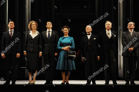 'The Audience' Press Night Curtain Call at the Gielgud Theatre Rufus Wright Haydn Gwynne Matt Plumb Dame Helen Mirren Edward Fox Michael Elwyn and Geoffrey Beevers