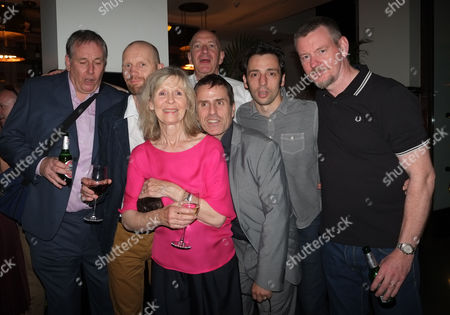 Stock Image of 'The Ladykillers' Press Night After Party at the National Gallery Cafe Trafalgar Square Chris Mccalphy Simon Day John Gordon Sinclair Ralf Little and Con O'neill with Angela Thorne and Director Sean Foley