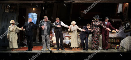 'The Ladykillers' Press Night at the Vaudeville Theatre the Strand Curtain Call - Simon Day Ralf Little Con O'neill John Gordon Sinclair Chris Mccalphy and Angela Thorne