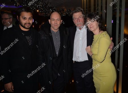 the Liberatum Cultural Honour For John Hurt at Spice Market in W London Leicester Square Pablo Ganguli with John Hurt and His Wife Anwen Rees Meyers