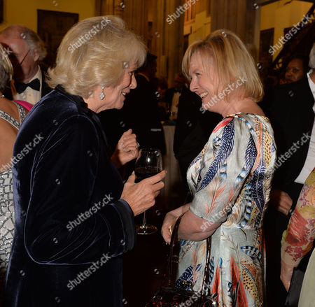 the Man Booker Prize For Fiction Presention at the Guildhall City of London Camilla the Duchess of Cornwall at the Pre-award Reception with Martha Kearney