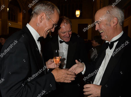 Stock Photo of the Man Booker Prize For Fiction Presention at the Guildhall City of London Sandy Nairne Director of the National Portrait Gallery Sir Andrew Motion and Charles Saumarez Smith of the Raa