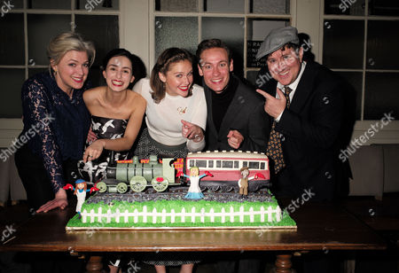 the Press Night Performance and Afterparty of 'The Railway Children' at King's Cross Theatre Kings Cross Station London Caroline Harker Serena Manteghi Louise Calf Jack Hardwick and Jeremy Swift