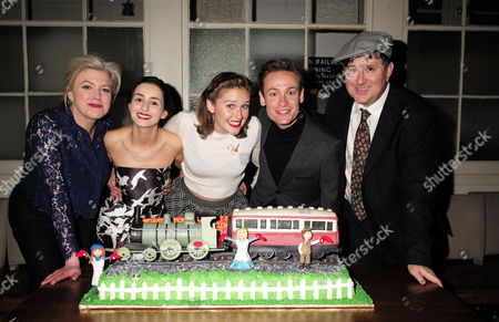 Stock Image of the Press Night Performance and Afterparty of 'The Railway Children' at King's Cross Theatre Kings Cross Station London Caroline Harker Serena Manteghi Louise Calf Jack Hardwick and Jeremy Swift