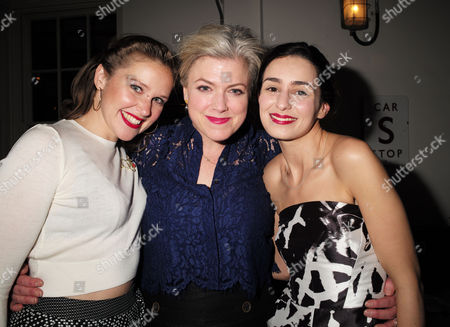 the Press Night Performance and Afterparty of 'The Railway Children' at King's Cross Theatre Kings Cross Station London Louise Calf Caroline Harker and Serena Manteghi