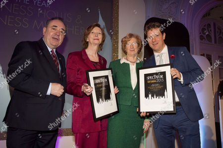 the Spectator Awards at the Savoy Hotel Peers of Year Award Winners - Baroness Molly Meacher and Baroness Patricia Hollis with Alex Salmond and Fraser Nelson