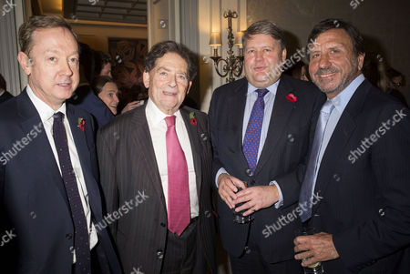 the Spectator Awards at the Savoy Hotel Geordie Greig Lord Nigel Lawson Lord Thomas Strathclyde and Sir Rocco Forte