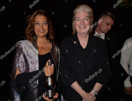 Stock Picture of Veuve Clicquot Business Woman Award 2013 at Claridges Hotel Ballroom Brook Street Mayfair London Dame Marjorie Scardino & Dame Zaha Hadid