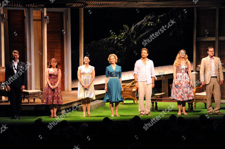 Volcano Press Night - Curtain Call at the Vaudeville Theatre Robin Sebastian Finty Williams Dawn Steele Jenny Seagrove Jason Durr Perdita Avery and Tim Daish