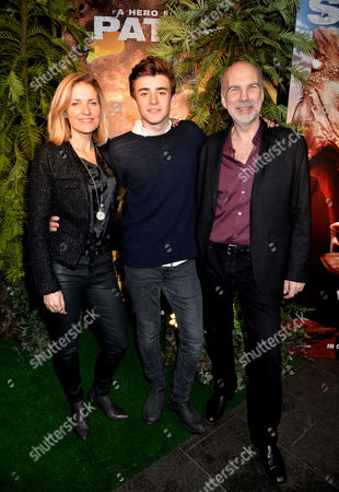 Stock Image of Walking with Dinosaurs Gala Screening at Vue West End Leicester Square London Neil Nightingale (director) Amanda Hill (producer) & Charlie Rowe (ricky)