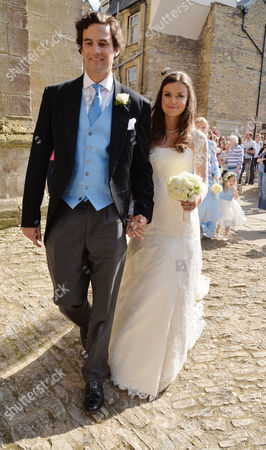 Wedding of Lady Natasha Rufus-isaacs to Rupert Finch at St John the Baptist Cirencester Lady Natasha Rufus-isaacs and Rupert Finch Leave the Church After Their Wedding
