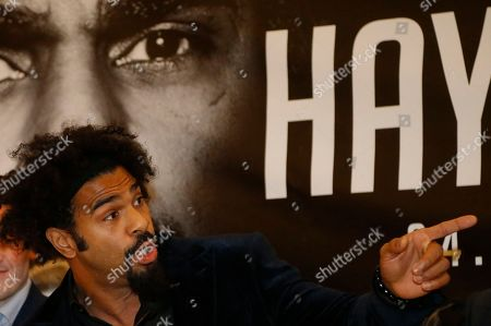 British boxer David Haye gestures during a press conference in London, to promote his bout against fellow British boxer Tony Bellow . The heavyweight clash between former world heavyweight champion David Haye and current world cruiserweight champion Tony Bellew will take place on March 4, 2017 at The O2 Arena in London