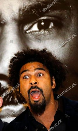 Stock Photo of British boxer David Haye speaks during a press conference in London, to promote his bout against fellow British boxer Tony Bellow . The heavyweight clash between former world heavyweight champion David Haye and current world cruiserweight champion Tony Bellew will take place on March 4, 2017 at The O2 Arena in London