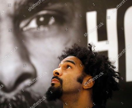 Stock Picture of British boxer David Haye looks up during a press conference in London, to promote his bout against fellow British boxer Tony Bellow . The heavyweight clash between former world heavyweight champion David Haye and current world cruiserweight champion Tony Bellew will take place on March 4, 2017 at The O2 Arena in London