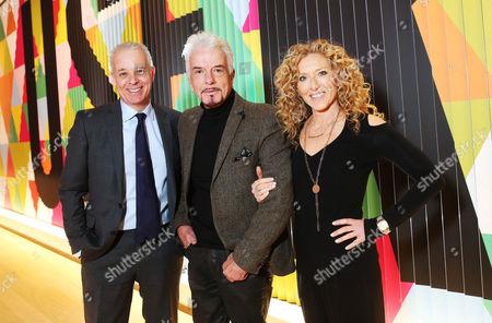 Martin Waller, Nicky Haslam winner of the Andrew Martin International Interior Designer of the Year Award 2016 and Kelly Hoppen