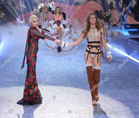Lady Gaga and Keke Lindgard on the catwalk