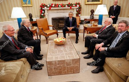 Barack Obama, Oliver Hart, F. Duncan M. Haldane, J. Fraser Stoddart, J. Michael Kosterlitz President Barack Obama with the 2016 American Nobel Prize winners in the Oval Office of the White House in Washington, . With Obama are from left, Oliver Hart, Laureate of the 2016 Nobel Prize in Economic Sciences, from Harvard University, F. Duncan M. Haldane, Laureate of the 2016 Nobel Prize in Physics from Princeton University, Sir J. Fraser Stoddart, Laureate of the 2016 Nobel Prize in Chemistry from Northwestern University, and J. Michael Kosterlitz, Laureate of the 2016 Nobel Prize in Physics, from Brown University