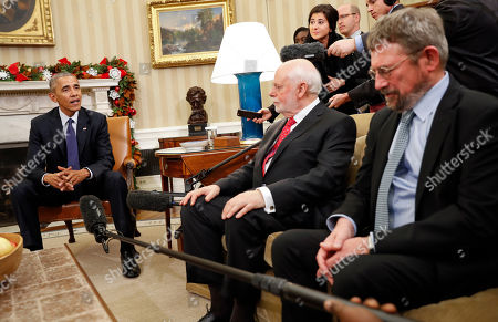 Barack Obama, J. Fraser Stoddart, J. Michael Kosterlitz President Barack Obama meets with the 2016 American Nobel Prize winners in the Oval Office of the White House in Washington, . With Obama are Sir J. Fraser Stoddart, center, Laureate of the 2016 Nobel Prize in Chemistry from Northwestern University, and J. Michael Kosterlitz, right, Laureate of the 2016 Nobel Prize in Physics, from Brown University