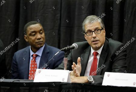 Former Indiana basketball player Randy Wittman speaks as Isiah Thomas listens during a news conference before an NCAA college basketball game between Indiana and North Carolina, in Bloomington, Ind. Members of the 1981 NCAA men's basketball championship team held a reunion and were to be honored during the game