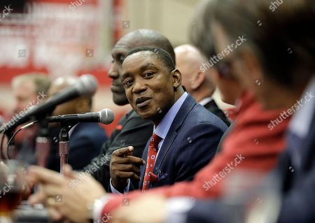 Former Indiana basketball player Isiah Thomas speaks during a news conference before an NCAA college basketball game between Indiana and North Carolina, in Bloomington, Ind. Members of the 1981 NCAA men's basketball championship team held a reunion and were scheduled to be honored during the game